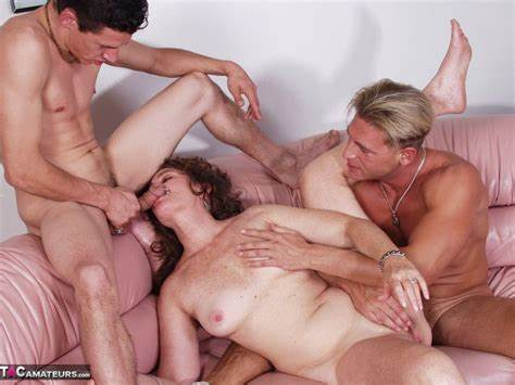 British Granny Filled By 2 Dudes