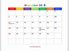 November 2018 Calendar Cute calendar template excel