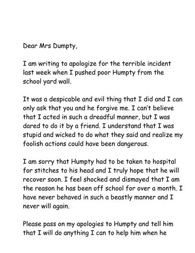 letter  apology  humpty  jpspooner teaching