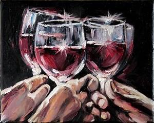 Red Wine Glasses Still Life Art Modern Oil by AnastassiaArt