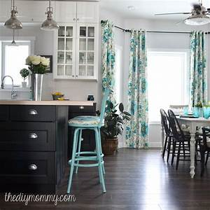 a black white and turquoise diy kitchen design with ikea With kitchen cabinets lowes with turquoise and black wall art