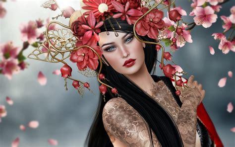 cherry blossom fantasy girl wallpaper  background image