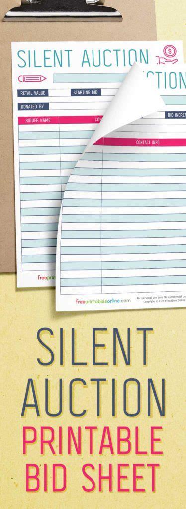 silent auction bidding sheet  printables