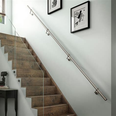 Fitting Banisters by 1 8mtr Brushed Nickel Metal Wall Mounted Handrail