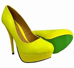Womens La s Neon Court Shoes High Heels Yellow Pink