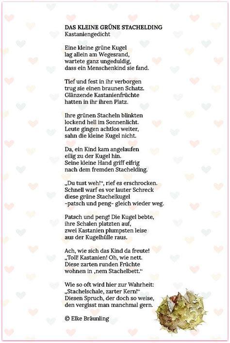 Herbst Garten Gedicht by Das Kleine Gr 252 Ne Stachelding Kastaniengedicht Lieder