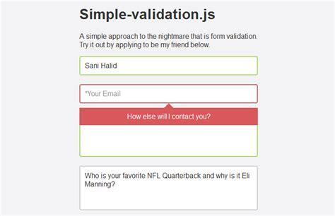 Javascript Form Validation Script by Simple Form Validation Using Simple Validation Js