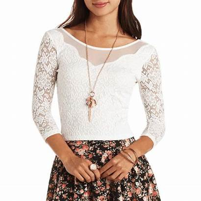 Charlotte Russe Tops Crop Mesh Lace