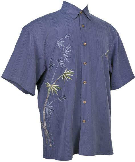 bamboo cay bamboo cay flying bamboo tropical embroidered shirt in blue mens hawaiian shirts clothing