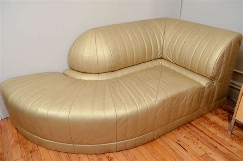 deco chaise vintage deco gold leather corner chaise lounge at 1stdibs