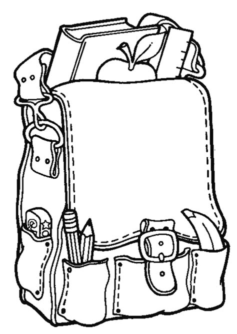coloriage cartable plein pour la rentree