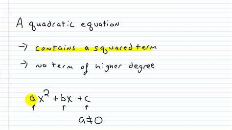 algebra i help writing a quadratic equation in standard form youtube