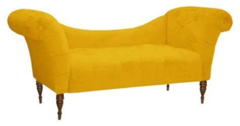 Button Tufted Chaise Settee by Button Tufted Chaise Settee Velvet Canary For The
