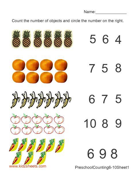counting numbers worksheet kindergarten