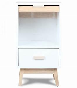 Table De Chevet Blanc Et Bois : table de chevet design en bois blanc ~ Teatrodelosmanantiales.com Idées de Décoration