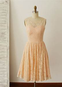 Peach Pink Lace Knee Length Short Bridesmaid Dress
