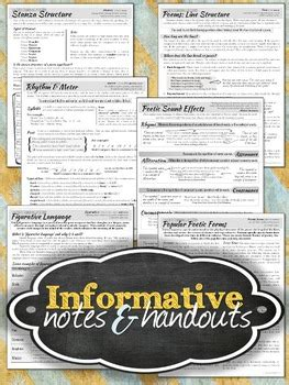 structural elements  poetry unit notes worksheets