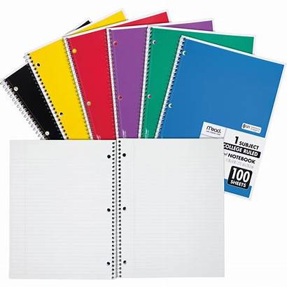 Notebook Subject Spiral Mead College Ruled Sheets