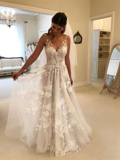 lace applique ivory beach wedding dresses  neck dress