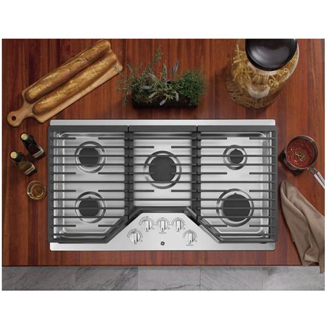 title ge  built  deep recessed edge  edge gas cooktop stainless steel jgpslss ge
