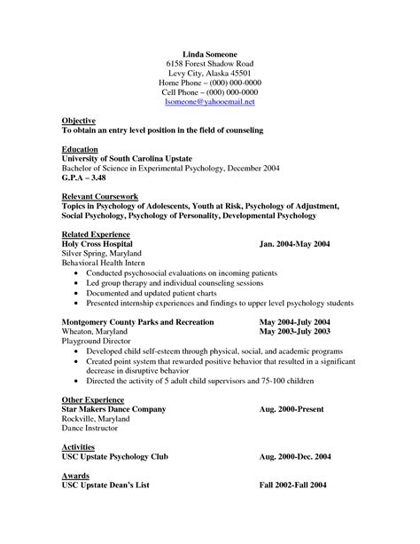 Sle Curriculum Vitae For College Students by Exle Resume For High School Student 17 Images