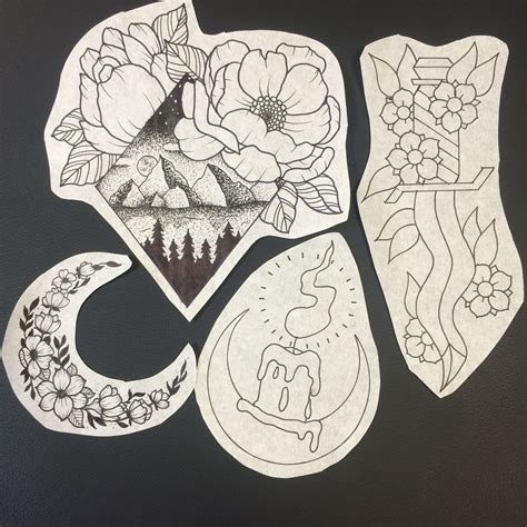 tattoo design  candle knife blade mountains pointillism dot work crescent moon flowers