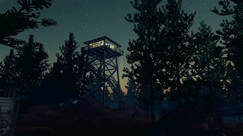 firewatch video games night forest trees stars