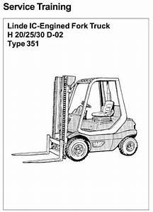 Linde Diesel Forklift Truck 351-02 Series H20  H25  H30 Service Training Manual