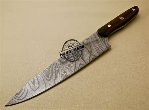 kitchen knive damascus kitchen knife custom handmade damascus kitchen knife with rose wood handle 840