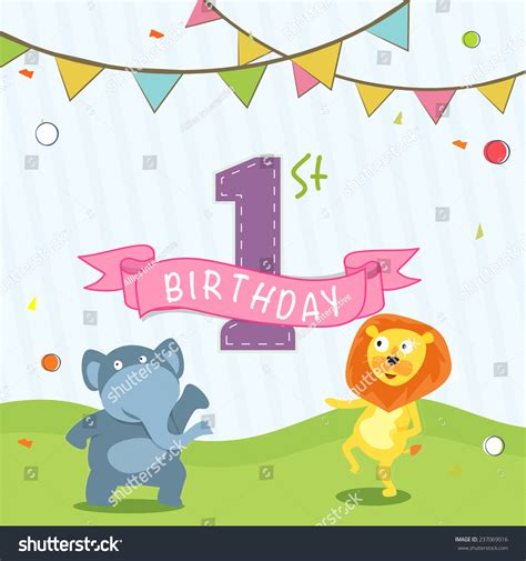 Kids 1st Birthday Celebration Invitation Card Stock Vector