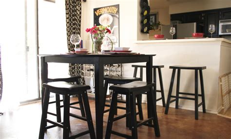 Small Condo Furniture Bar Height Round Dining Table Pub