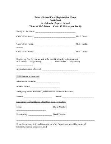 sle after school program registration form after school care program registration form 2008 2009 st