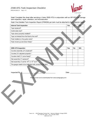 api 653 tank inspection checklist - Fillable & Printable