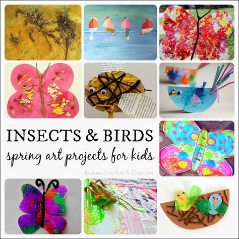 50 beautiful projects for 477 | Spring art projects for kids featuring insects and birds