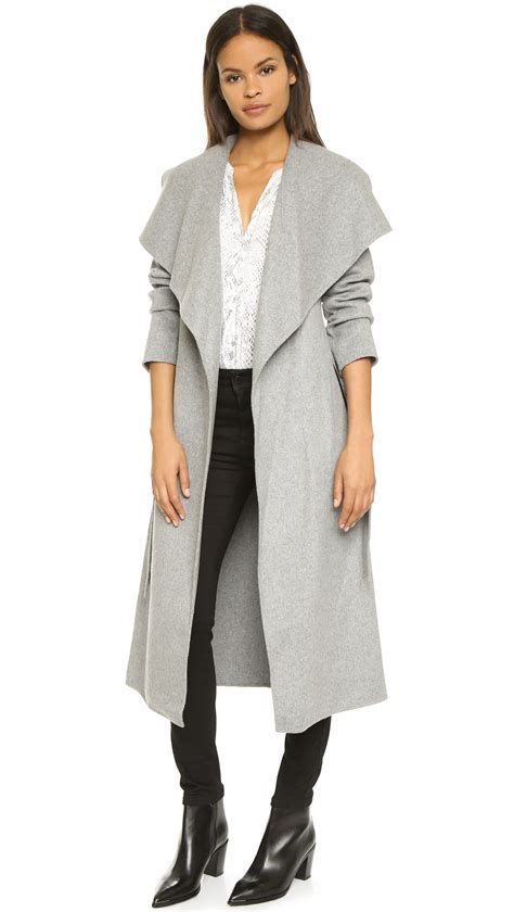 light grey long coat mackage mai wrap coat light grey in gray light grey lyst