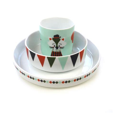 chambre gris et vert set de vaisselle circus en porcelaine ferm living pour