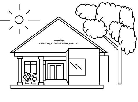 mewarnai gambar mewarnai gambar sketsa pemandangan rumah 3