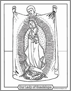 Lady Of Guadalupe Coloring Page   Juan Diego Tilma