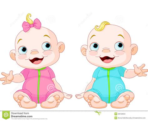 Cute Smiling Twins Stock Vector. Illustration Of Happy
