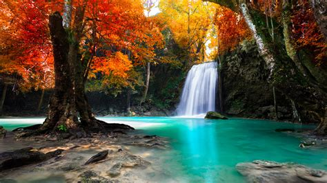 waterfall  kanjanaburi thailand landscapes wallpaper
