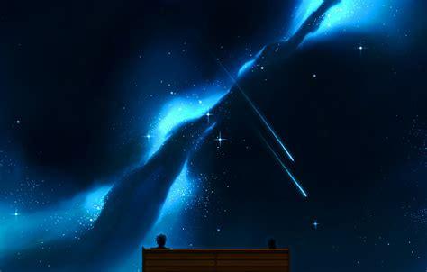 wallpaper  sky girl stars bench night anime art