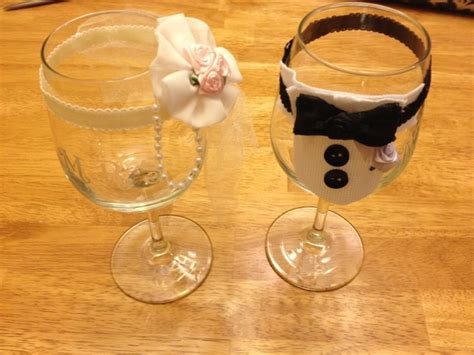 Bride And Groom Decorated Wine Glasses, Diy Etched With
