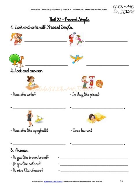grammar exercises  pictures present simple