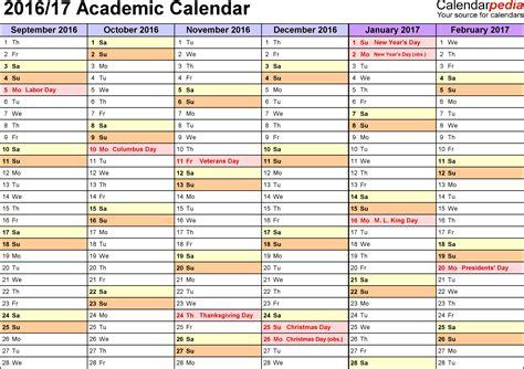 academic calendar template academic calendars 2016 2017 as free printable word templates