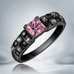 new hot top quality black wedding ring pink sapphire14kt With hot pink and black wedding rings