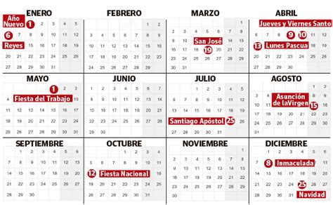 el calendario laboral de tiene festivos comunes