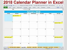 2018 Excel Calendar Year Template Printable Monthly