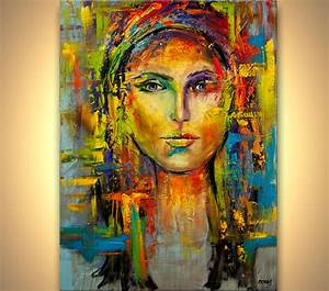 Painting - colorful portrait painting modern palette knife ...