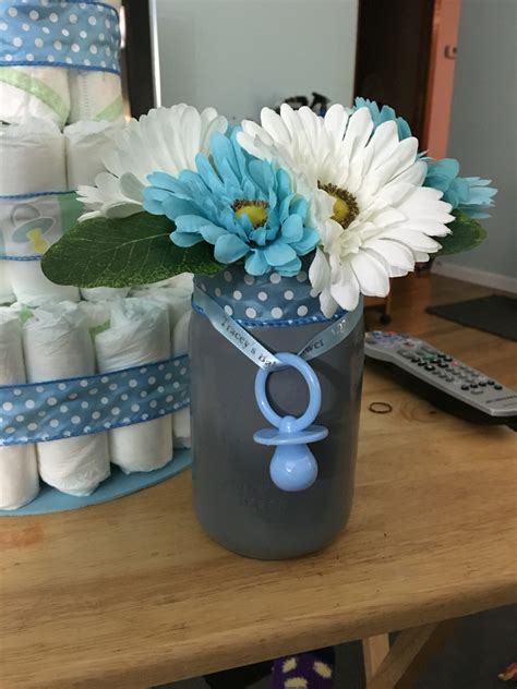 centerpieces for baby shower boy finished mason jar centerpiece for boy baby shower my diys pinterest mason jar