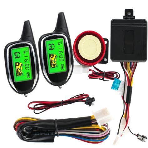 two way remote engine start motorcycle security alarm system moto scooter alarm with 2 lcd